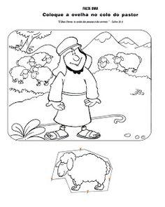plak (kleur) het schaapje in de armen van de herder