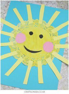 doily sun craft sun kids craft spring craft crafts for kids- kid crafts - Sun Crafts, Family Crafts, Quick Crafts, Craft Activities, Preschool Crafts, Kids Crafts, Christmas Activities, Camping Crafts For Kids, Preschool Prep