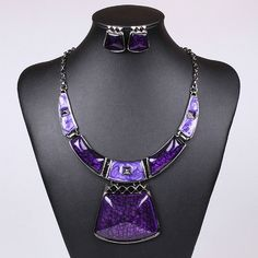 2014 new vintage resin geometry Earrings and Necklace Set for women fashion jewelry. blue/ purple /black /red-in Pendant Necklaces from Jewelry on Aliexpress.com | Alibaba Group