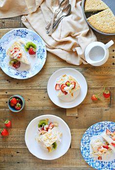 Triple Coconut Tres Leches Cake with Honey-Vanilla Summer Fruit recipe | Q Squared NYC dinnerware