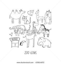Zoo hand drawn icon set
