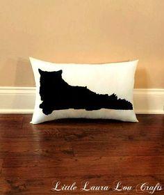 Long Haired Cat Silhouette Pillow, Home Decor,Dorm Decor, Pet Decor, Cat Lover Gift, Cat Pillow, Christmas Gift, Gift for Her, Gift for Mom