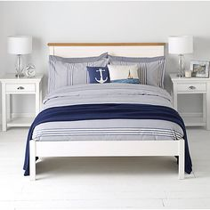 Buy John Lewis Variegated Stripe Duvet Cover and Pillowcase Set, Dark Nordic Blue Online at johnlewis.com
