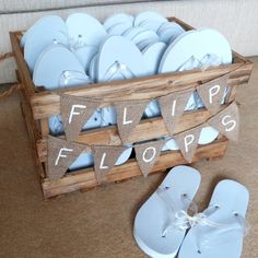 Personalised Crate Of Wedding Flip Flops from notonthehighstreet.com