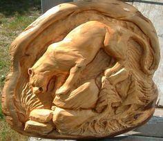 Cougar carving: