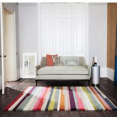The Clarice rugs collection has colorful, broken stripes that create a fascinating combination of color and design. The hand tufted rugs from Romo are expertly made with lush woolen yarns and therefore have a deep, luxurious pile that gives each of the Romo Fabrics, Interior Styling, Interior Design, Carpets Online, Palette, Geometric Rug, Hand Tufted Rugs, Colorful Rugs, Interior Inspiration