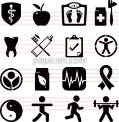 Health And Wellness Icons - Black Series