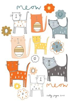 Pattern design - Slight absence from me recently, we have just got back from 2 weeks away in the sun, we had a great time - but straight back to reality and about 6 loads of washing to do - post holiday blues are n. Cat Drawing, Cute Illustration, Surface Pattern, Crazy Cats, Doodle Art, Cat Art, Art For Kids, Character Design, Doodles