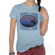Joshua Tree National Park Full Moon Blue T-shirt This souvenir style design features landscape nature travel photography of a blue and pink full moon set at the beautiful Joshua Tree National Park.