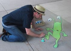 Who is this guy and why is he always invading my personal space? Harlan Hatcher Graduate Library, University of Michigan (September 12, 2013) - street art by David Zinn (himself)