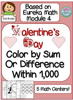 Students can have fun coloring while practicing place value, addition and subtraction within 1,000. Can be used for 5 Math Centers! Based on Eureka Math Module 4. May also be used for whole group review or homework or quick assessment.  Common Core aligned.