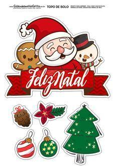 Topo De Bolo Natal Para Imprimir Fazendo A Nossa Festa Christmas Topper Christmas Drawing Christmas Stickers