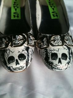 Skulls and Webs Horror Punk Flats Shoes