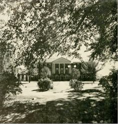 """Looking at Reid [dormitory] from across the Upper Quad.""  Sweet Briar College. Photo from 1954 Briar Patch. Text and image source: sweetbriarcollege on Tmblr."