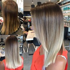 Before and after beach balayage