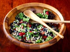 Triple berry salad with sugared almonds.  It's delicious.  I make this in the summer all the time and it is that good.  I add chicken to it for a main course.