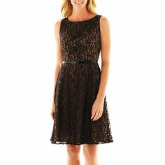9 & Co.® Belted Lace Fit-and-Flare Dress - JCPenney
