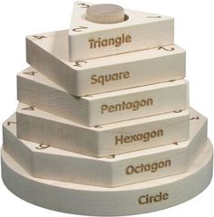 This all-natural Shape Stacker integrates 4 different educational concepts: - Shapes – the shapes are a triangle, square, pentagon, hexagon, octagon, and circle - Vocabulary – each of the shapes have