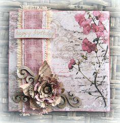 Happy Birthday card would also make a beautiful Valentine card.  ~ Donna Salazar Designs ~