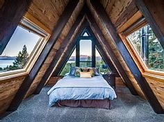 Decorative Rocks Ideas : Amazing A-frame cabin with hot tub 2 fireplaces & more. Lakeview Tree House is like the Tahoe City vacation home you dream about but its real and waitin Cabin Homes, Log Homes, Bedroom Loft, Bedroom Decor, A Frame Bedroom, Master Bedroom, Master Suite, Bedroom Ideas, A Frame House