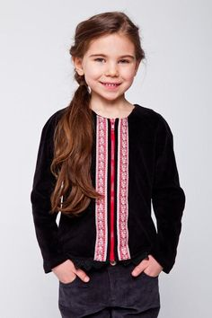 Girl's velour jacket black with embroidery design