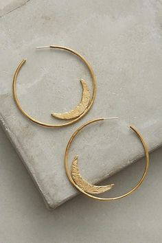 Anthropologie | gold hoops with moon | earrings | jewellery