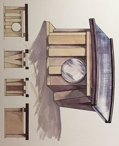 Watercolour sketch of a bespoke jewellery box