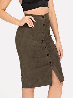 Button Up Suede Bodycon Skirt -SheIn(Sheinside) Gonne Autunnali 5ce0cd2867a