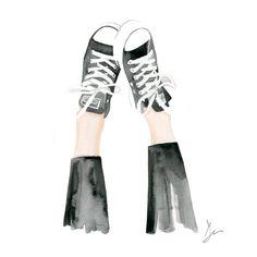 "Watercolor Fashion Illustration ""Kickin up my Chucks"" Giclee Art Print Home Decor Wall Art Converse Shoes"