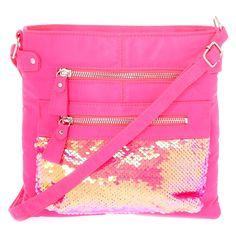 4e2ce953ce059 Midi Reversible Sequin Crossbody Bag - Pink