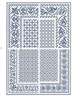 Este es un precioso esquema o patrón de punto de cruz en el que se representan cuatro modelos diferentes de cenefas e interiores. Creo que ...
