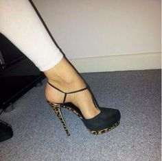 66.97$  Watch now - http://aixfp.worlditems.win/all/product.php?id=32800329335 - real picture sexy ladies black suede leather T-bar high heel shoes leopard print heel thin T-strap pumps free shipping on sale