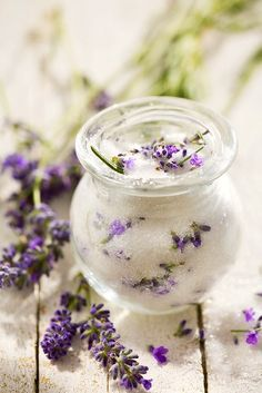"~ Make your own lavender sugar- 1 cup sugar, 1 tablespoon ""French Blue Lavender Tea"" Let sit in airtight container for 1 week, makes a great gift!"