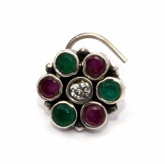 Excited to share the latest addition to my #etsy shop: 925 Solid Silver Green Onyx & Ruby Studded Floral Pierced Nose Pin / Large Nose Ring - Nostril Screw - Wire Nose Stud / Banjara /Tribal NP15 http://etsy.me/2D0RV7r #jewelry #raregemsnjewels #nostrilscrew #banjarano
