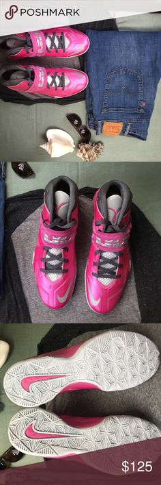 Pink Nike LeBron Zoom Soldier VII Real men eat quiche AND wear pink. Here they are, cutest, best cause kicks ever! Totally EUC, with original box, these are statement shoes that have something important to say! Smoke free/pet free home! Nike Shoes Sneakers