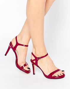 Faith Liberty Plum Barely There Heeled Sandals