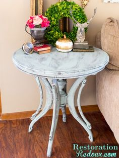 Blue Dry Brushed Vintage Table - Restoration Redoux