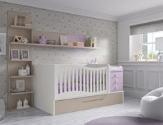 Chambre bébé avec lit évolutif - GLICERIO #babyroom #baby #chambrebebe #roomdesign