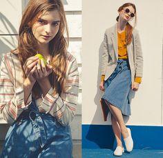 PHEENY Japan 2014 Spring Summer Womens Lookbook Collection - Natucial Stripes Casualwear Denim Jeans Skirt Crop Top Midriff Dress Peacoat Bl...