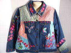 Denim Bling Covered Berek2 Jacket Size 1X Fancy Rhinestones Beads - perfect for spring!