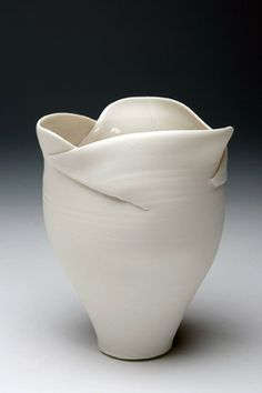 Ceramics by Veronica Newman at Studiopottery.co.uk - Vase with cut and folded rim, 2008.