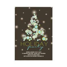 Retro Circles Blue Christmas Tree Holiday Party Invitation by fatfatin