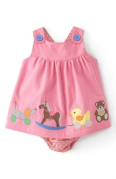 Mini Boden Appliqué Button Strap Dress (Baby Girls) available at How flipping CUTE is this? Fashion Kids, Baby Girl Fashion, Mini Boden, Outfits Niños, Kids Outfits, Baby & Toddler Clothing, Toddler Outfits, Infant Toddler, Baby Dress Patterns