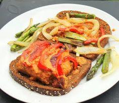 Vegan Richa: Jamaican Jerk Tempeh and creamy Red Bell pepper mayo Sandwich! Vegan