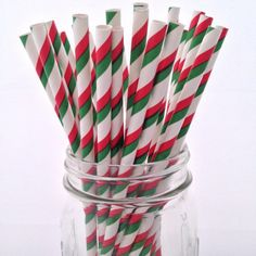 Christmas Striped Mix Paper Straws, 25-pack - from category Party Goods (Uniik Stuff)