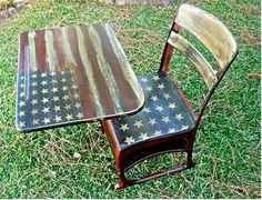 old school desk painted with USA flag! Not the seat, just the top