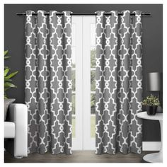 """Set Of 2 / Pair Ironwork Blackout Thermal Grommet Top Window Curtain Panels Black (52""""X96"""") Exclusive Home"""