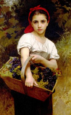 off Hand made oil painting reproduction of Vendangeuse [The Grape Picker], one of the most famous paintings by William-Adolphe Bouguereau. William-Adolphe Bouguereau painted the artwork entitled Vendangeuse, . William Adolphe Bouguereau, Forest Lawn Memorial Park, Wine Painting, Most Famous Paintings, Wow Art, Oil Painting Reproductions, Diy Canvas, Oeuvre D'art, Great Artists