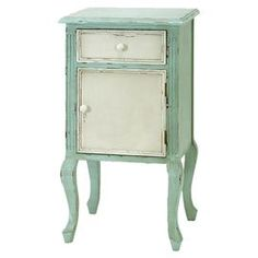 Could do this with chalk paint - duck egg and off white with dark wax. It retails for $164.00 on Joss and Main