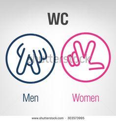 Men and women WC icons. Men and women WC icons. Funny Toilet Signs, Funny Signs, Pub Signs, Door Signs, Wc Icon, Estudio Makeup, Toilet Icon, Toilet Door Sign, Ideas